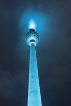 Germany, Berlin, Illuminated Television Tower At Night