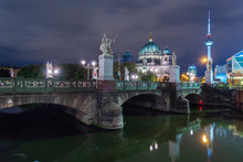 Germany, Berlin, View To Lighted Berlin Cathedral And Television Tower