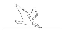 Continuous Line Drawing Of Beautiful Skimmer Bird Flying Over Water Surface