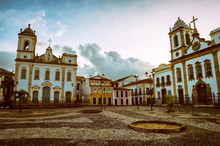 Moody Dusk View Of The Colonial Anchieta Plaza In The Historic Tourist Center Of Pelourinho In Salvador, Bahia, Brazil