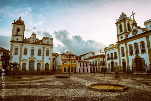 Fotografia  Moody dusk view of the colonial Anchieta Plaza in the historic tourist center of