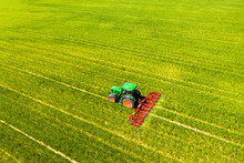 Aerial View Of Tractor On Field, Soil Loosening, Hochtaunuskreis, Hesse, Germany
