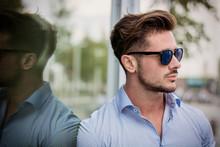 Stylish Handsome Man Wearing Elegant Shirt, Outside In Urban Setting