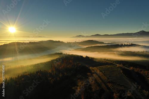 Photo  Carpathian mountain sunny landscape