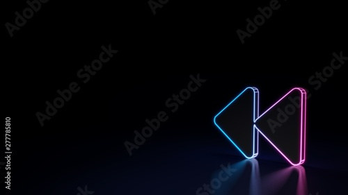 Photo 3d glowing neon symbol of symbol of backward isolated on black background