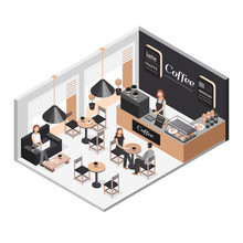 Isometric Illustration Of Coffee Shop