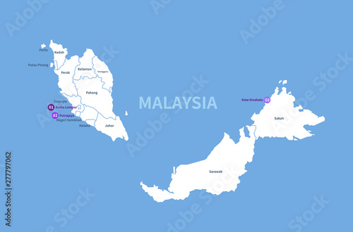graphic vector map of asia countries. malaysia map. Wallpaper Mural