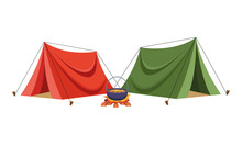 Camping Tents With Soup In Bonfire