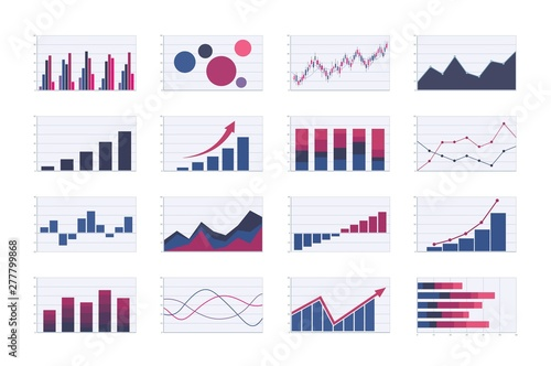 Fototapeta Color business graph and chart set. bar, line, areas, bubble and candlestick graphs. analysis graphic vector images obraz