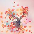 canvas print picture - Deer male portrait with autumn concept