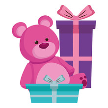 Purple Teddy Bear Cartoon Symb...