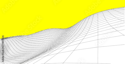 Foto auf Leinwand Gelb Abstract wireframe background. 3D grid illustration landscape. Terrain in the Mountains with valleys.