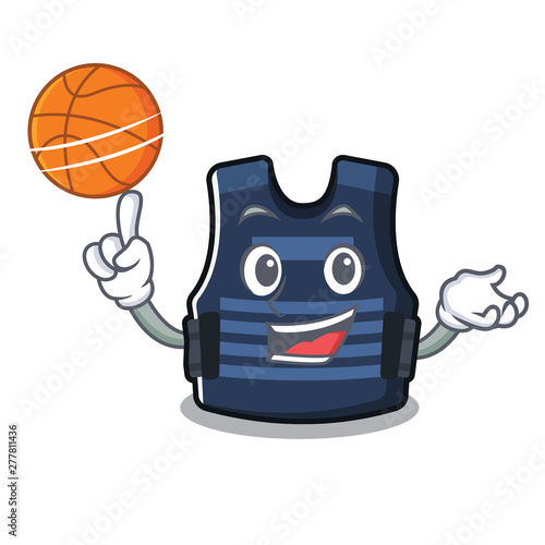 With basketball bulletprof vest isolated in the mascot - Buy