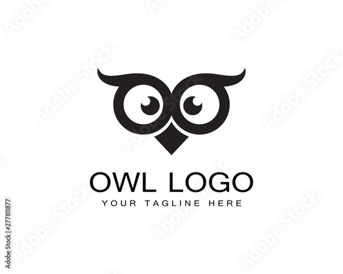 Photo Stands Owls cartoon Owl logo template vector