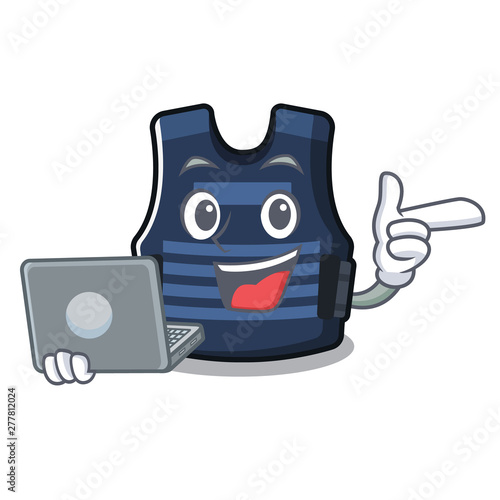 With laptop bulletprof vest isolated in the mascot - Buy