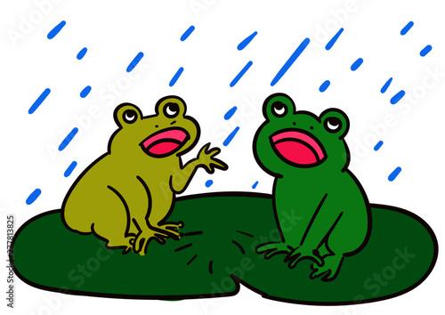 かえると雨