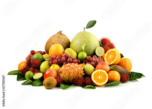Poster de jardin Route A heap of different tropical fruits isolated on white background. Healthy and organic fair concept. - Image