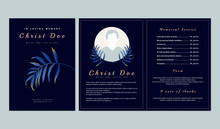 Botanical Memorial And Funeral Invitation Card Template Design, Dark Blue Background Decorated With Blue Bamboo Palm Leaves