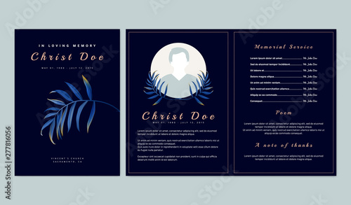Valokuvatapetti Botanical memorial and funeral invitation card template design, dark blue backgr