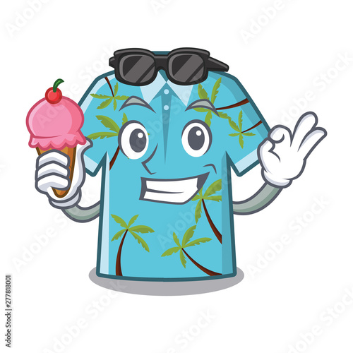 With ice cream hawaiian shirt isolated in the character