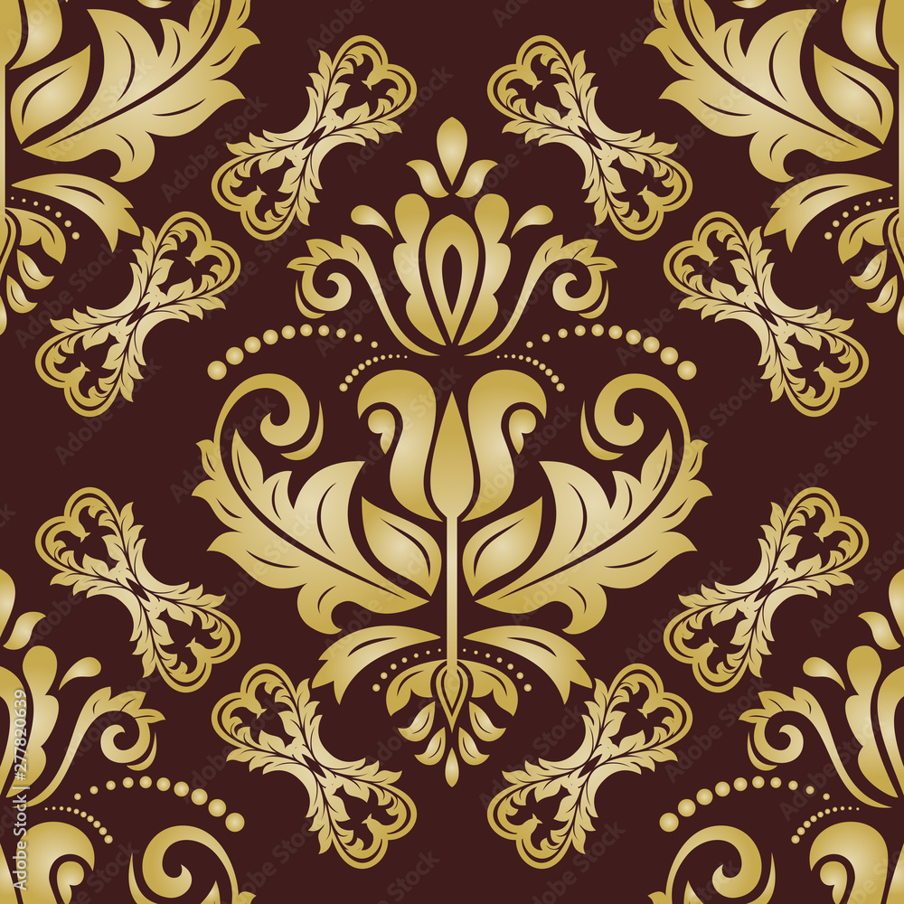 Orient classic pattern. Seamless abstract background with vintage golden elements. Orient background