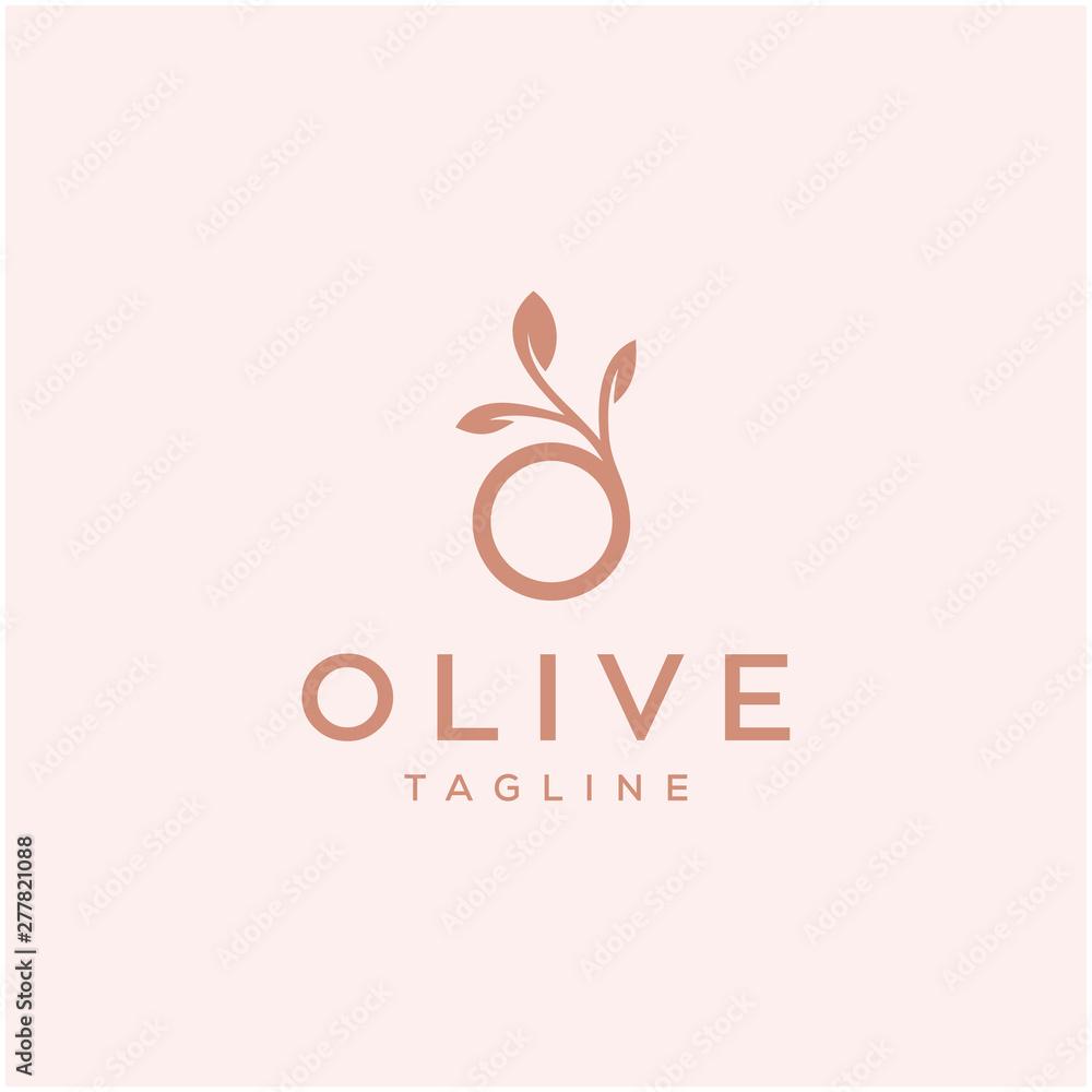 Fototapety, obrazy: olive vector icon logo design / O letter initial
