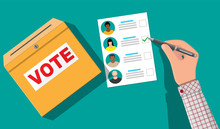 Ballot Box, Paper With Candidates. Hand With Pen And Election Bill. Vote Document With Faces. Vector Illustration In Flat Style