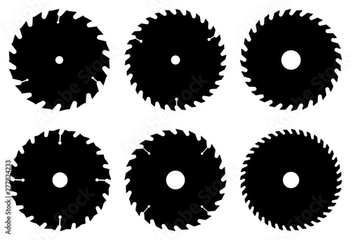 Circular saw blade for cutting wood. Flat icon. Silhouette vector Fototapete