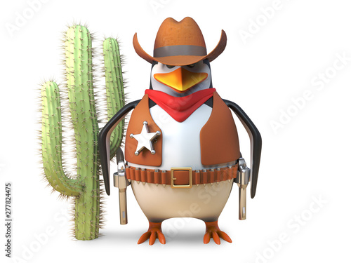 Sheriff cowboy penguin stands aloof near a cactus in the wild west, 3d illustrat Wallpaper Mural