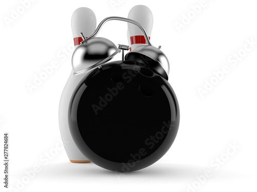 Bowling ball and pins with alarm clock - Buy this stock