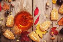 Tea With Cookies And Autumn Le...