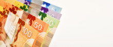 Canadian Banknotes On White Ba...