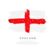 Flag of England. Vector illustration on white background. Brush strokes