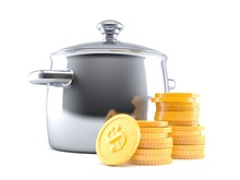 Kitchen Pot With Stack Of Coins