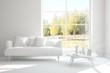 Leinwanddruck Bild - Stylish room in white color with sofa and autumn landscape in window. Scandinavian interior design. 3D illustration