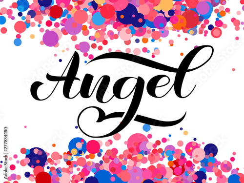Angel brush lettering for clothes, card or poster Canvas Print