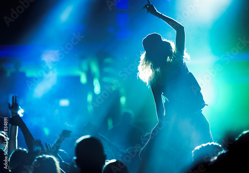 Fotografie, Obraz Picture of dancing crowd at music festival