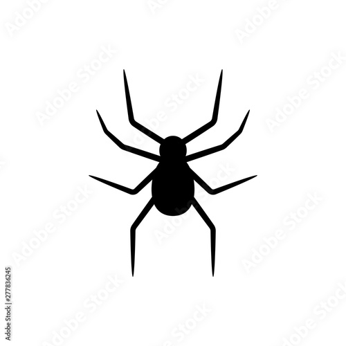 Photo Black silhouette of spider isolated on white background