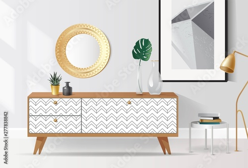 Wooden sideboard with plants and glass vase on it against white wall Slika na platnu