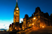 Parliament Of Canada Building In The Heart Of Canadian Capital Ottawa City.