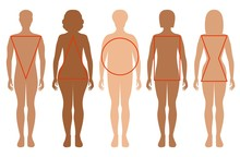 Five Female Silhouettes. Types...
