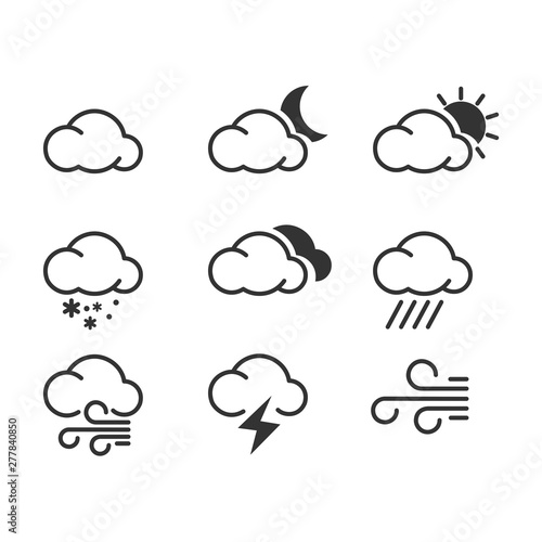 Fototapeta Weather icon template color editable. Weather symbol vector sign isolated on white background. Simple logo vector illustration for graphic and web design. obraz na płótnie