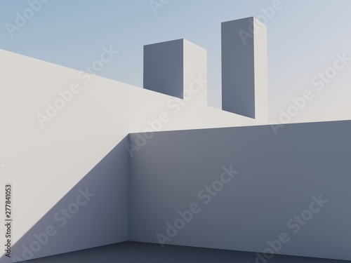 Obraz Architectural construction against the blue sky. 3d render illustration with copy space. Simple, stylish, popular architectural illustration for advertising, business, presentations, wallpapers. - fototapety do salonu