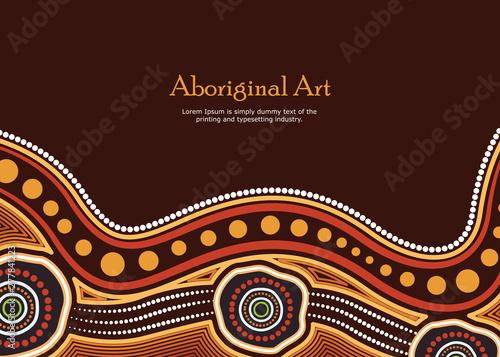 Aboriginal art vector banner with text. Wallpaper Mural