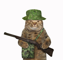The Cat Ranger In Military Uniform With A Hunting Bag Is Holding A Rifle. White Background. Isolated.