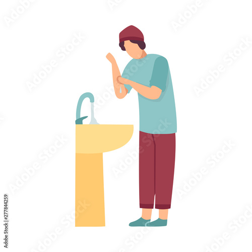 Obraz na plátne Muslim Man Washing Hands Preparing Wudhu For Prayer In Mosque Vector Illustratio