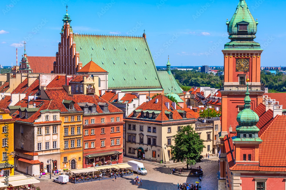 Fototapety, obrazy: Warsaw, Poland colorful houses in Castle Square in the Old Town of polish capital aerial view