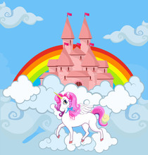 Unicorn At Sky Castle Bright Rainbow Background