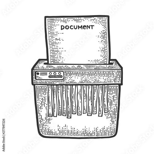 Office shredder cuts paper document sketch engraving vector
