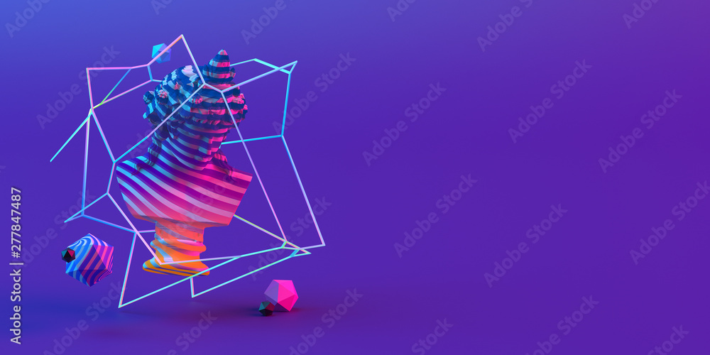 Fototapety, obrazy: 3d-illustration of an abstract composition of sculpture and primitive objects on violet background